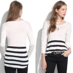 Madewell Long Sleeve Stripe Tee Shirt Black White